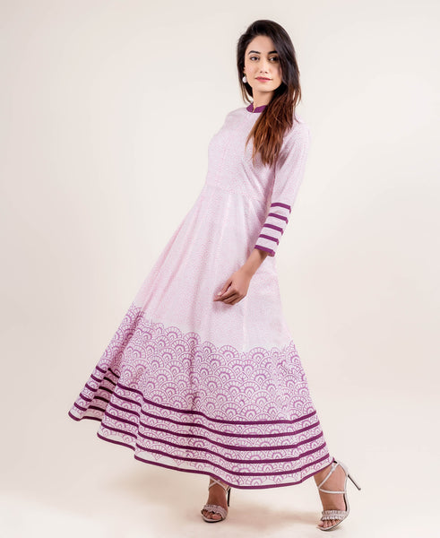 Swirly Anarkali Style Long Dress