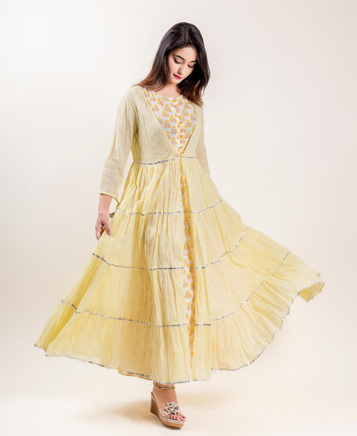 Cotton Hand Block Printed Lemon Long Tiered Dress
