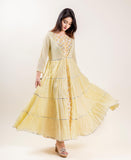 Cotton Hand Block Printed Lemon Long Designer Tiered Dresses