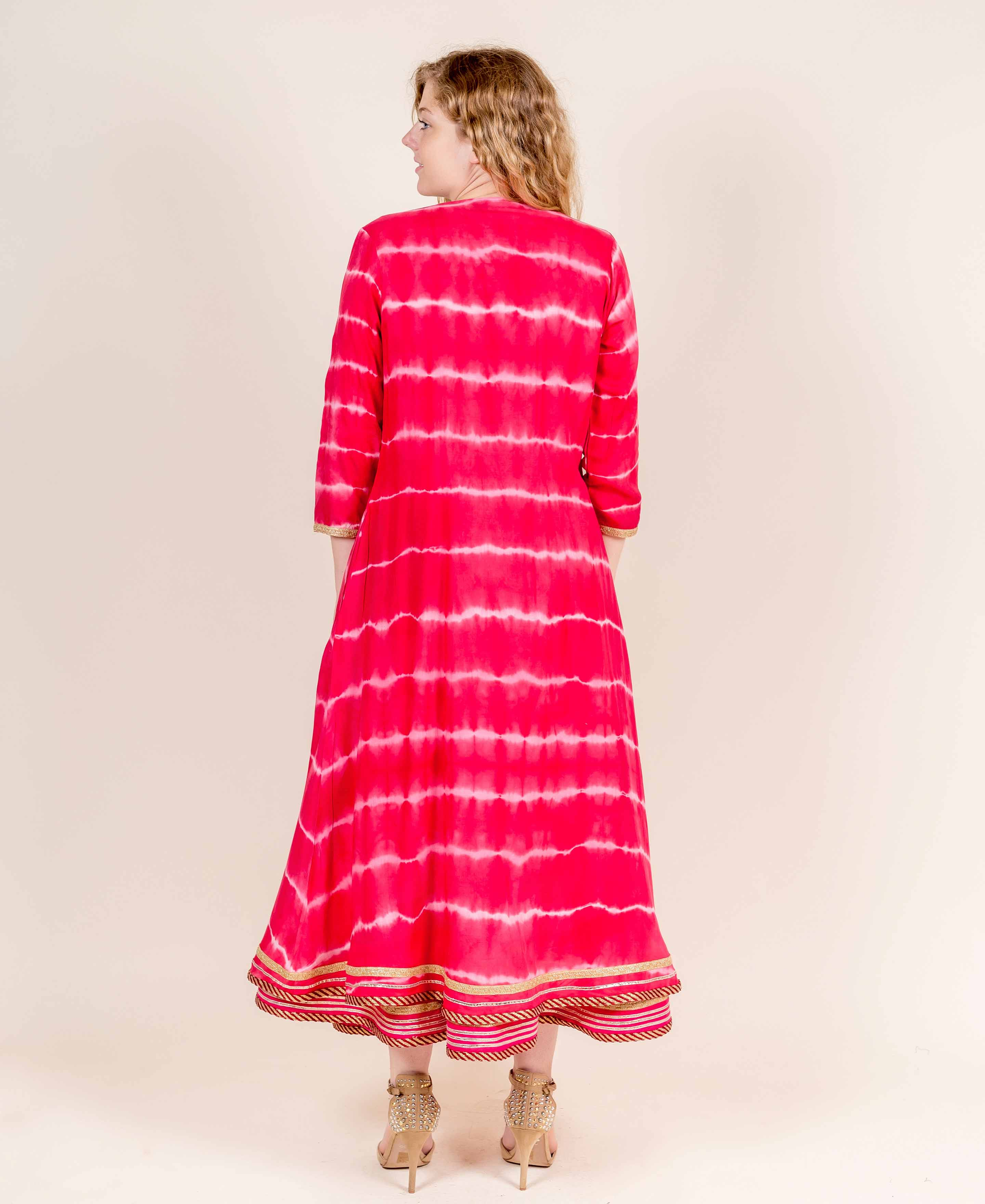 Red Double Layered Cotton Rayon Long Dresses for women online