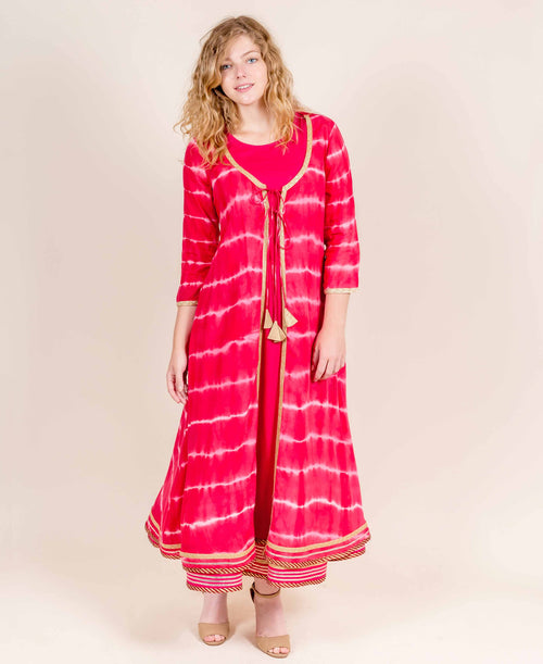 Red Double Layered Tie and Dye Jacket Style Dresses for Women