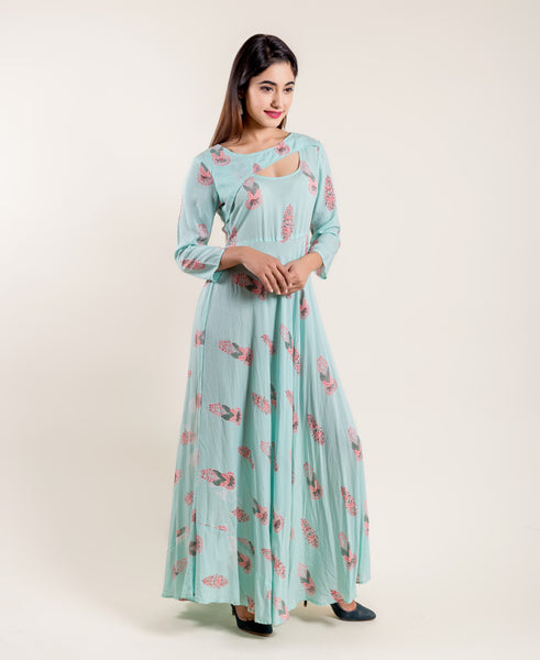 long indo western dress