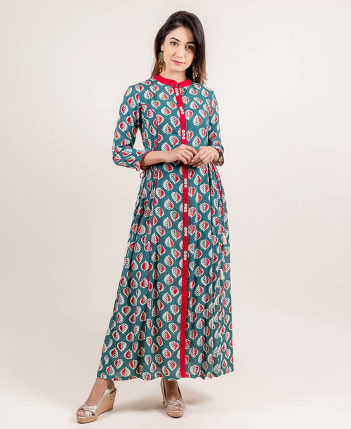 Dazzling Tasseled Front Open Block Printed Long Designer Dress