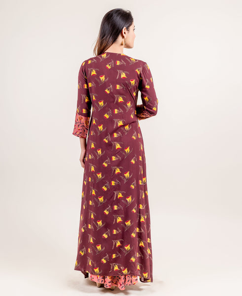 Quarter Sleeves Rayon Block Printed Dresses with jacket online for womens