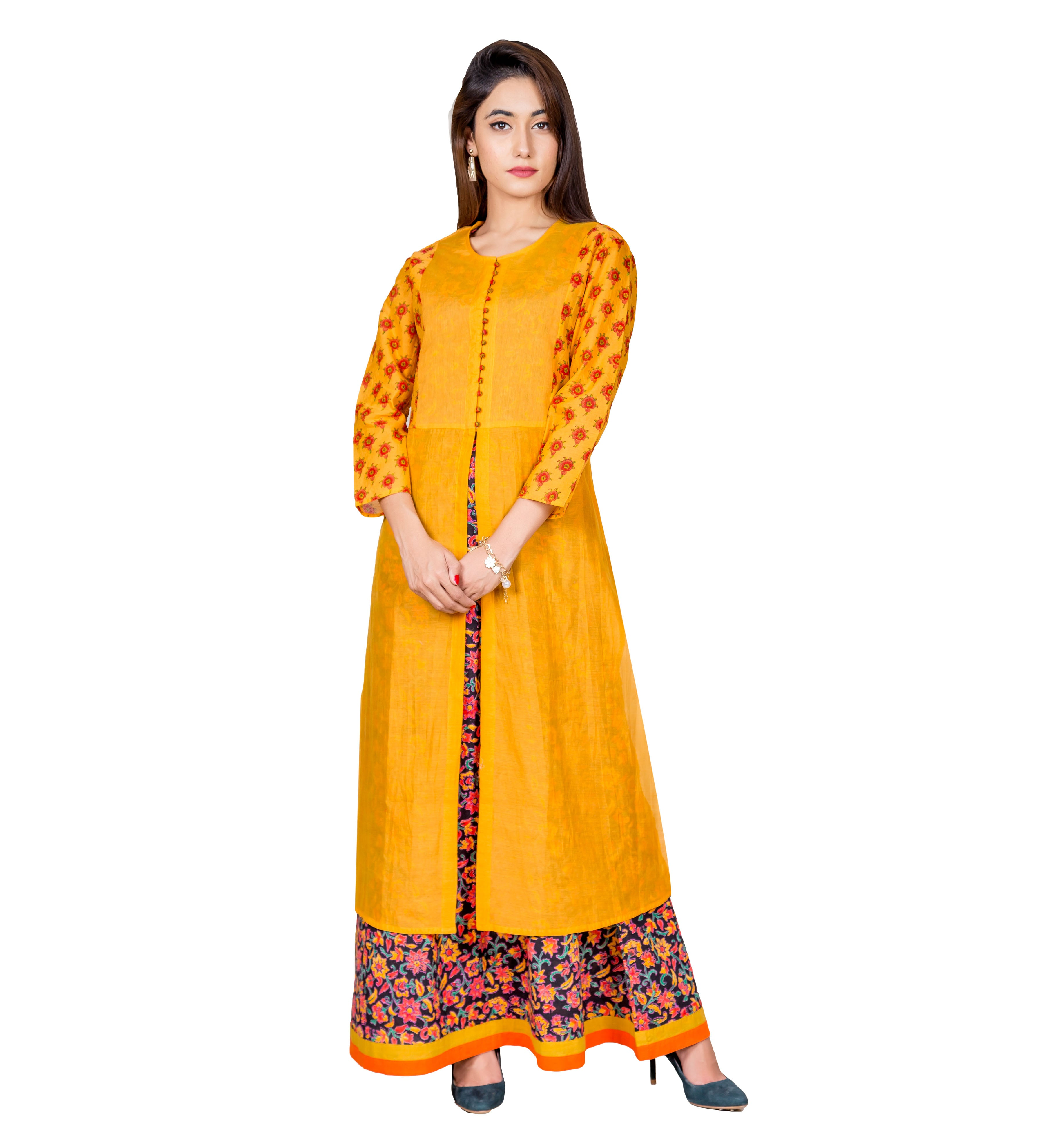 Mustard Yellow Indo Western Dress
