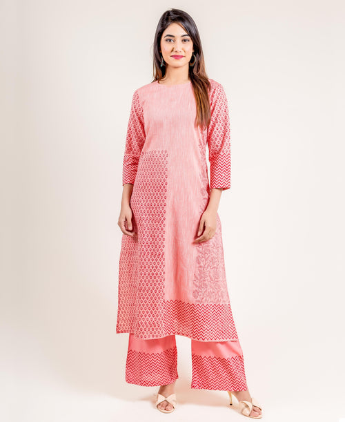 Cotton Peach Printed Round Neck Straight Suit with Palazzos online