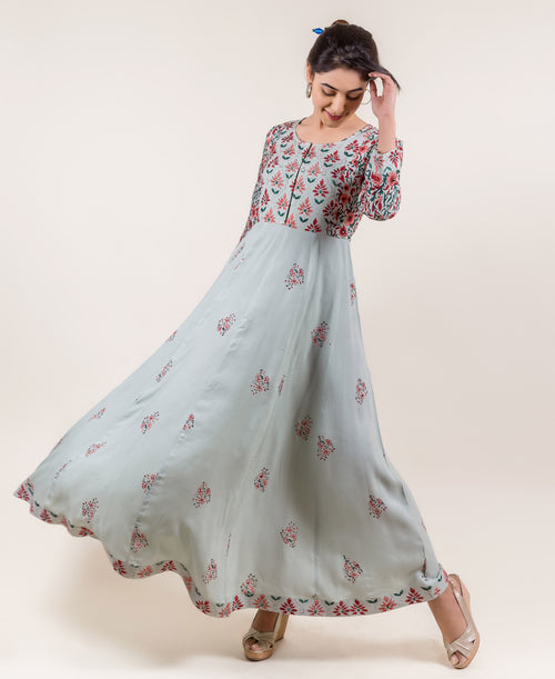 Ravishing Rayon Anarkali Long Dresses online in Mint
