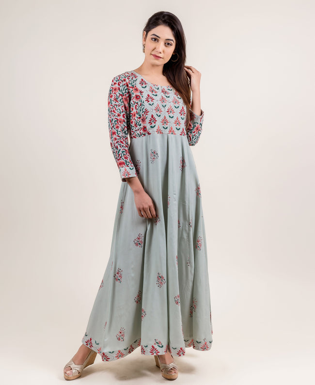 Rayon Long Anarkali Gowns Dresses for women and girls online