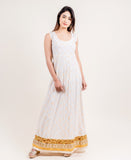 White and Yellow Festive Indo Wetern Dress for Women