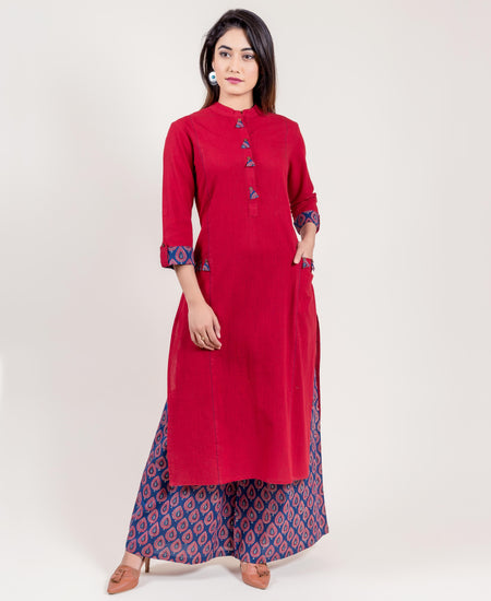 Teal and Blue Asymmetrical Kurta with Pleated Palazzo