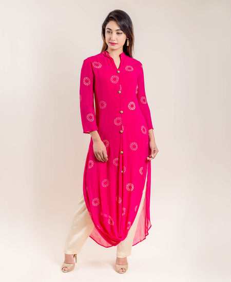 Printed Straight Suit Set In Pink And Red