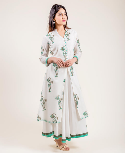 Floral Printed Ivory Chanderi Layered Long Dress