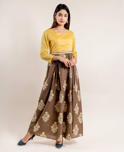 Brown Gold Hand Block Printed Indo Western Dress