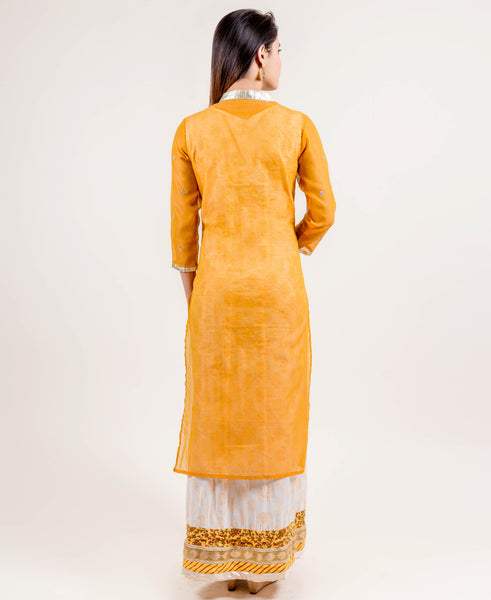 Yellow Hand Block Printed Long Designer Indo Wetern Dress