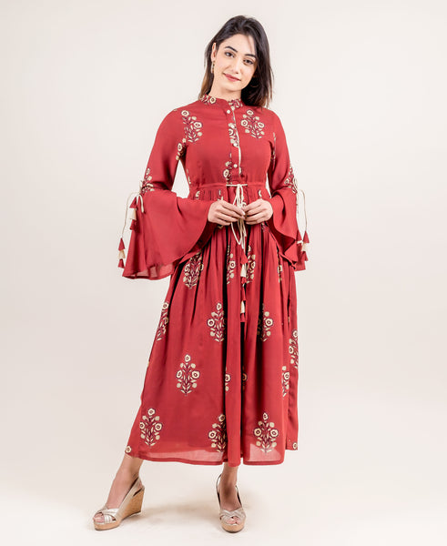 Classy Tasseled Long Dress With Hand Block Prints
