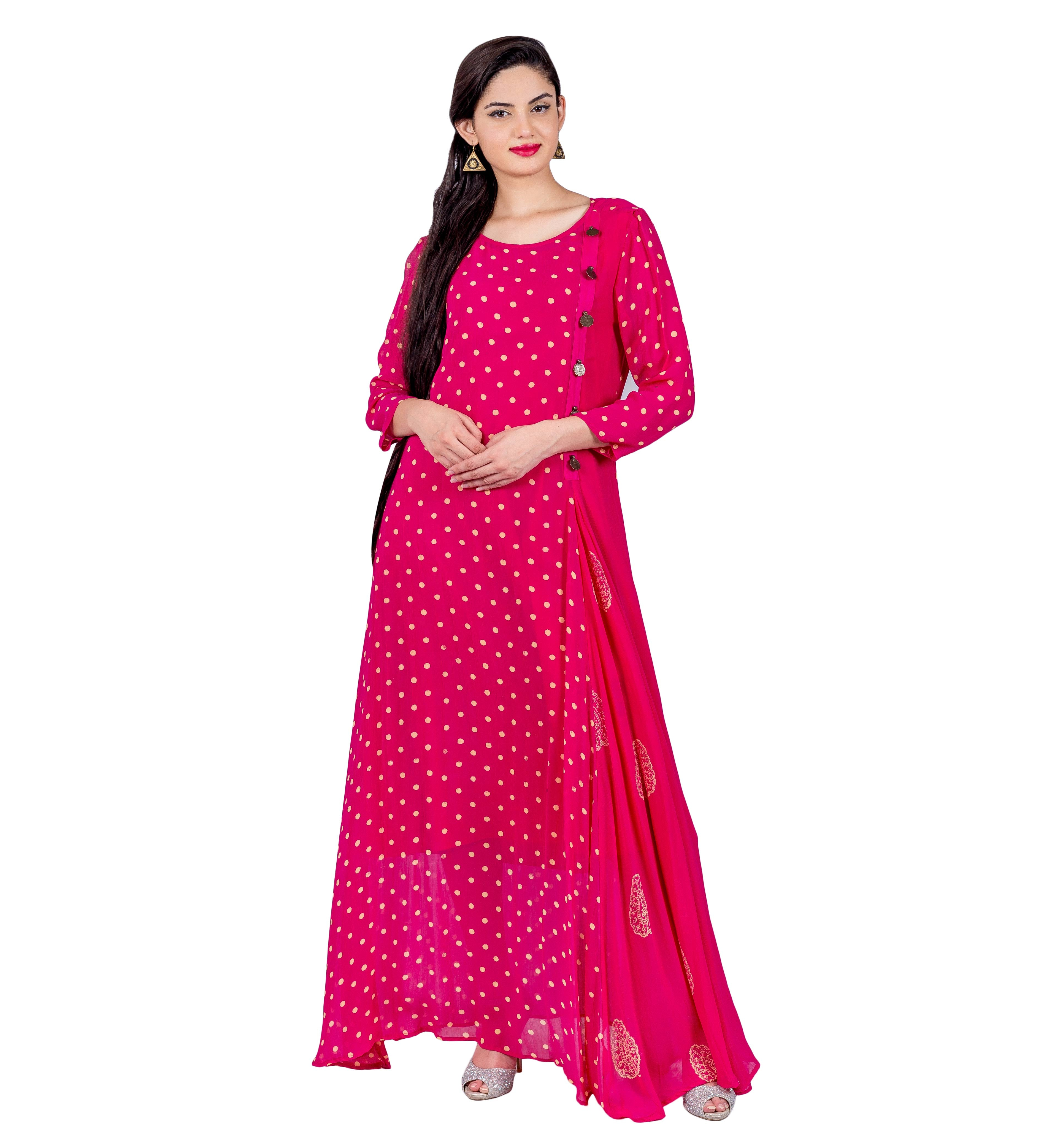 Fuchsia Hand Block Printed Indo Western Dress with Front Side Buttons