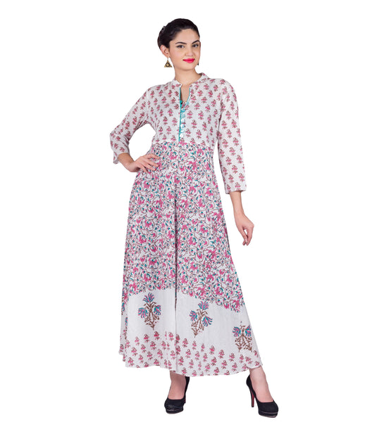 Pink / White Floral Hand Block Print Indo Western Dress