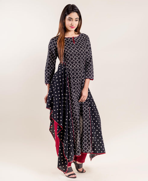 Chevron Print Black and White Asymmetrical Kurta with Pants