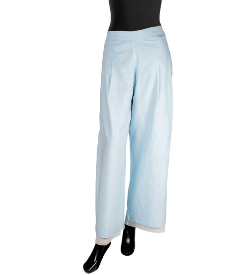 Blue and White Double Layered Palazzo Pants