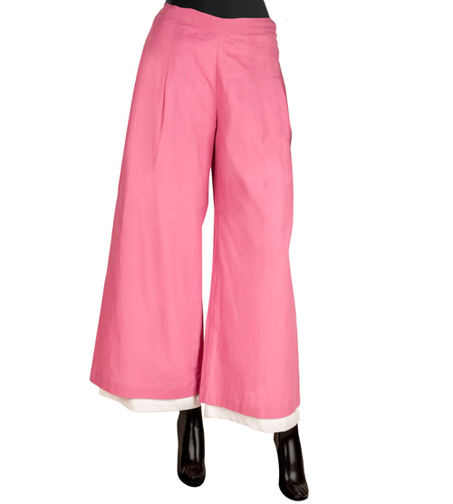 Off White and Pink Double Layered Palazzo Pants