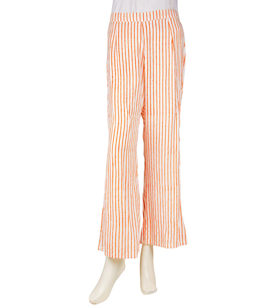 White and Orange Striped Palazzo Pants