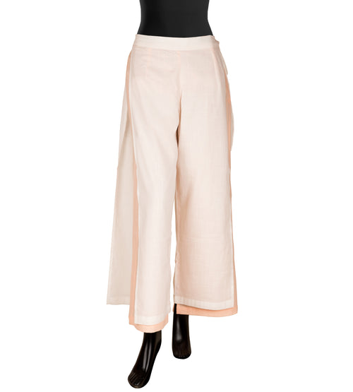Off White and Peach  Double Layered Palazzo Pants