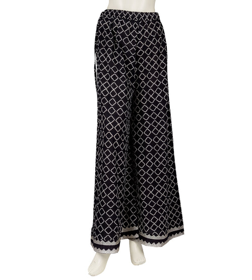 Retro Style Temple Embroidered Hand Block Printed Wide Leg Palazzos