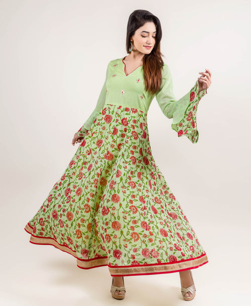 Elegant Embroidered Long Bell Sleeves Anarkali Dress
