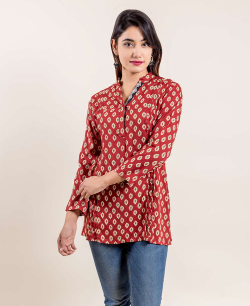 Dark Red Stylized Mandarin Hand Block Printed Short Kurta Top