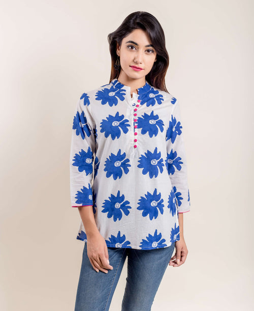 Blue White Floral Hand Block Printed Ethnic Short Kurti With Mandarin Collar And Front Buttons
