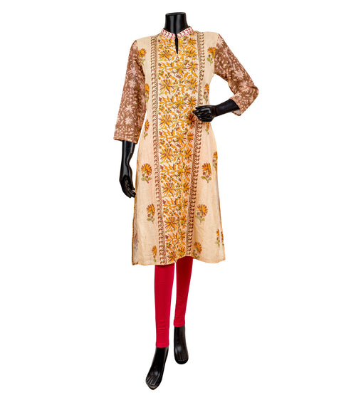 Beige and Yellow Hand Block Printed Kurta