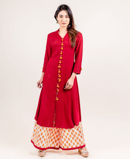 Blue Hand Block Printed Kurta and Palazzo Set
