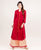 Rayon Red Indo Western Suit Set With Tasseled Buttons