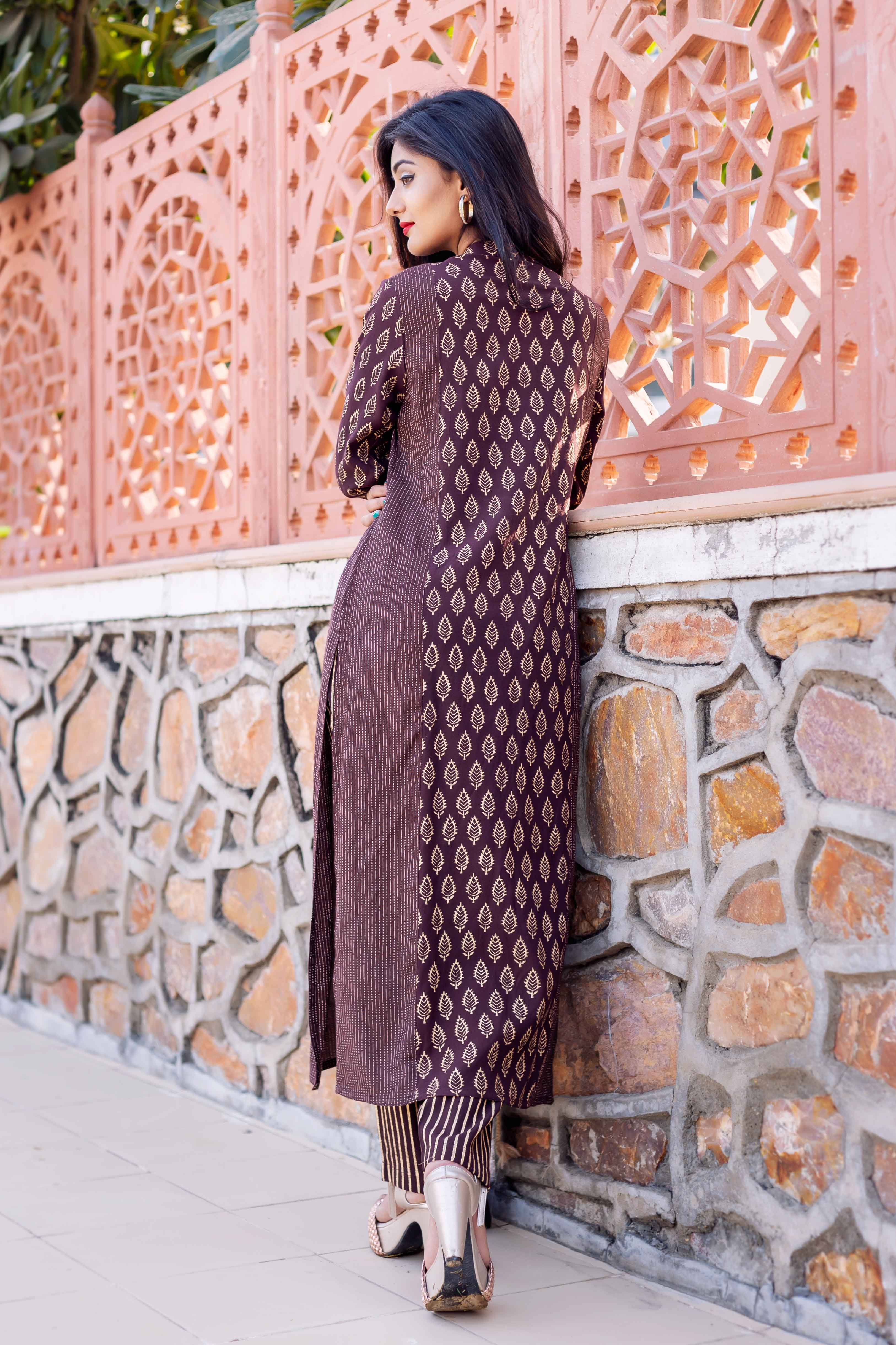 stand collar brown block printed kurtis with dupatta and pants online