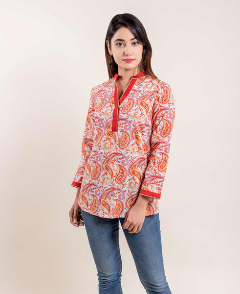 Orange White Paisley Design Printed Ethnic Short Kurti