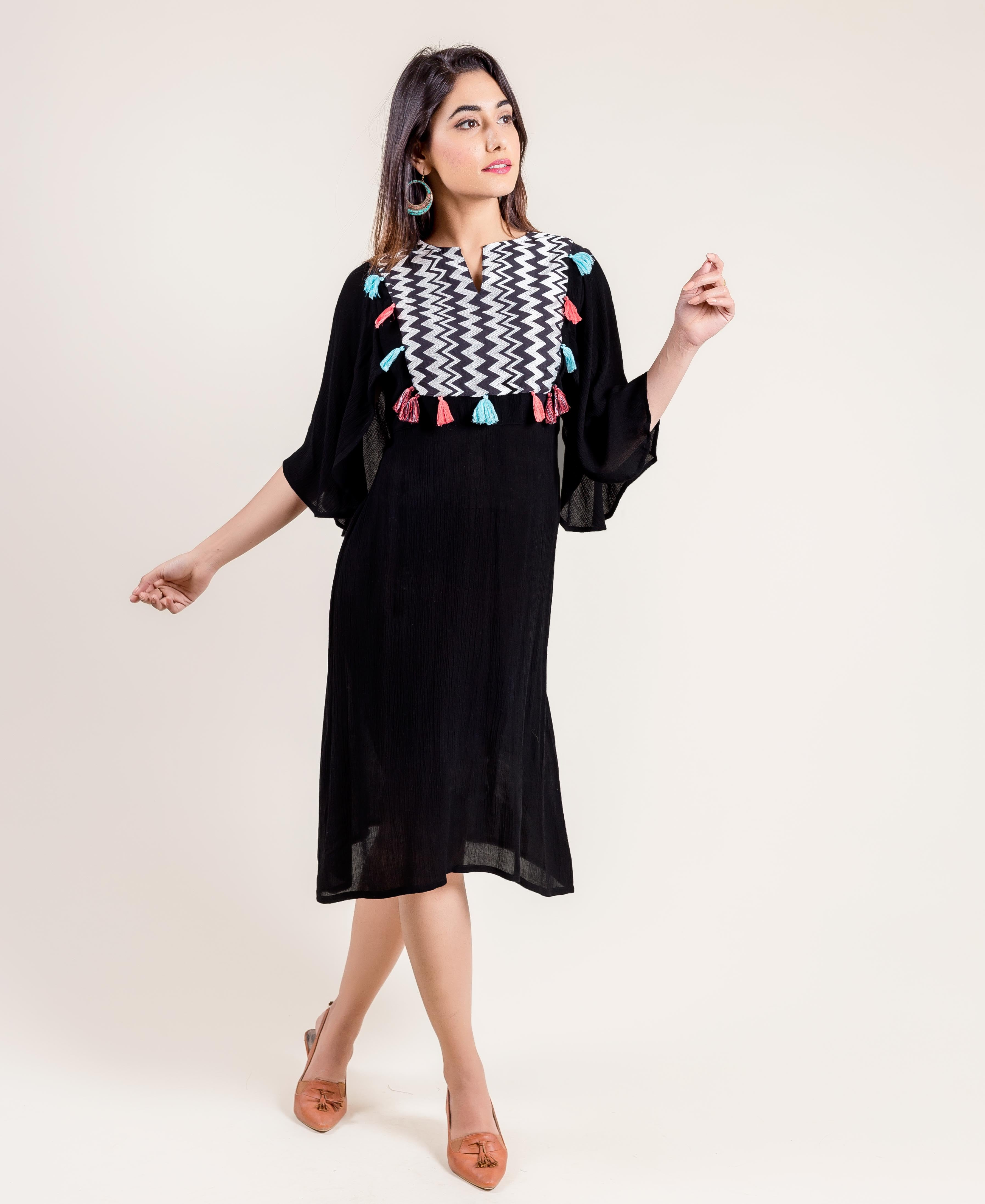Embroidered Indo Western Style Black Dresses for women online