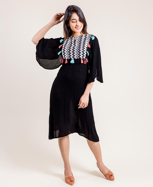 Embroidered And Tasseled Indo Western Style Rayon Gauze Black Dresses