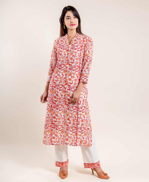V Neck Floral Printed Straight Cut Front Slit Kurta with Pants