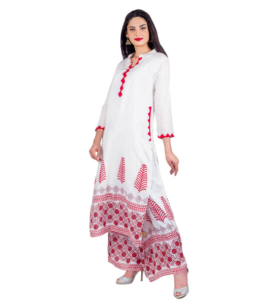 White and Pink Straight Cut Kurta
