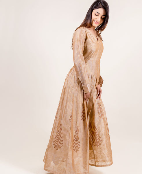 Breathtakingly Stunning Gold Printed Full Sleeved Long Designer Gowns for women online