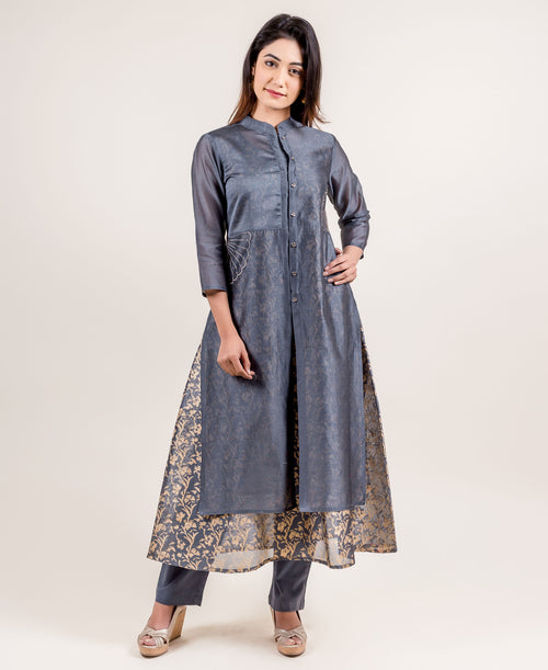 Amour Grey Mandarin Collar Suit with Pants With Golden Prints online