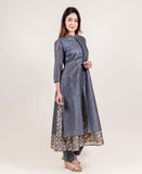 Golden Print Amour Grey Mandarin Collar long kurta with long Pants online