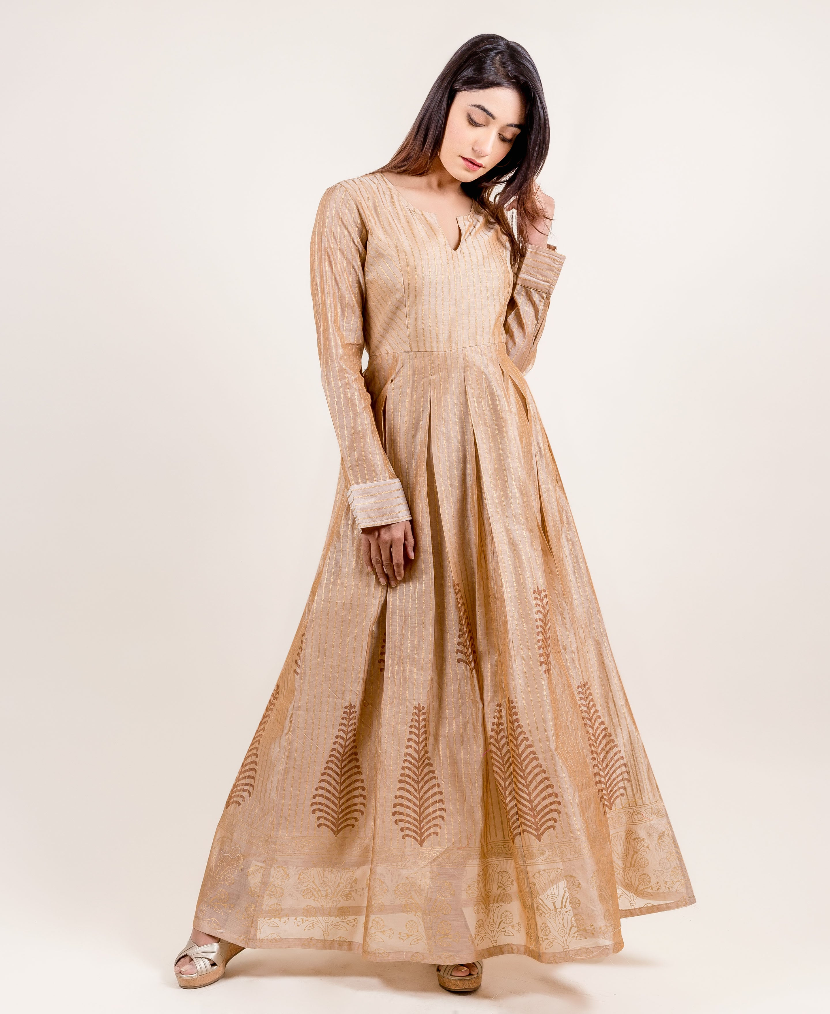 Breathtakingly Stunning Gold Printed Full Sleeved Long Dress