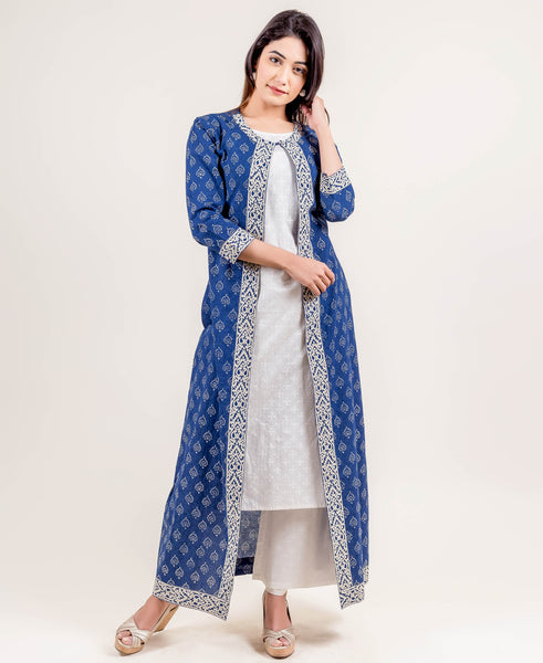 Blue Hand Block Printed Indo Western Dress with Long Jacket