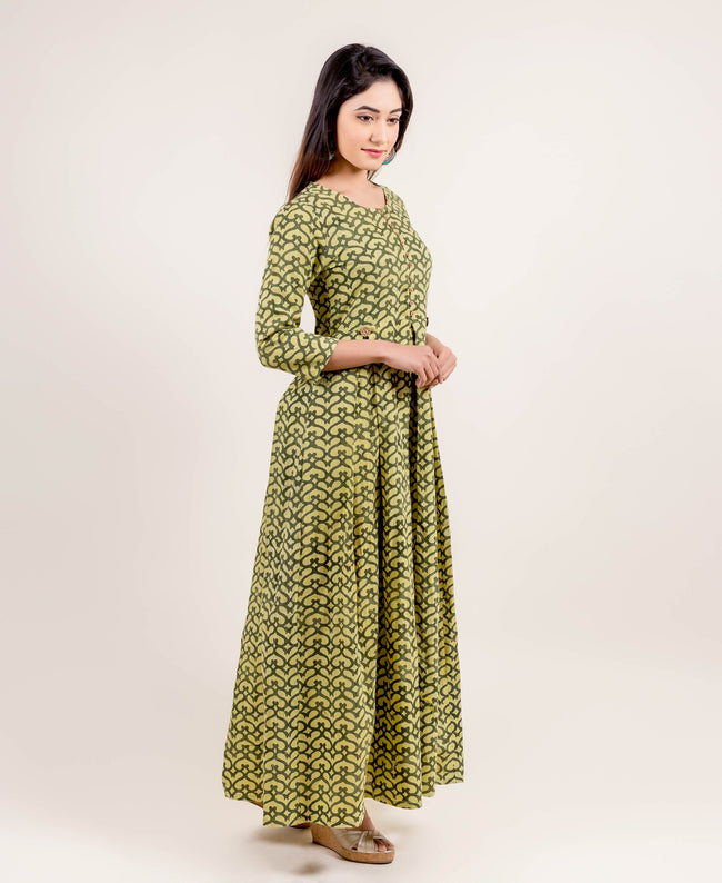 Hand Block Printed Long Anarkali Dress online shopping for women