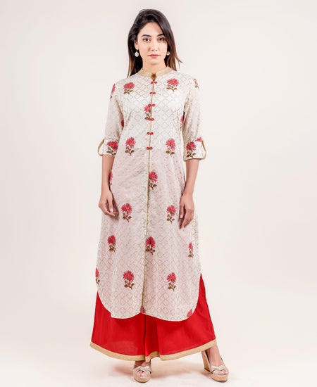 Embroidered Red And Peach Straight Fit Indo Western Suit Set