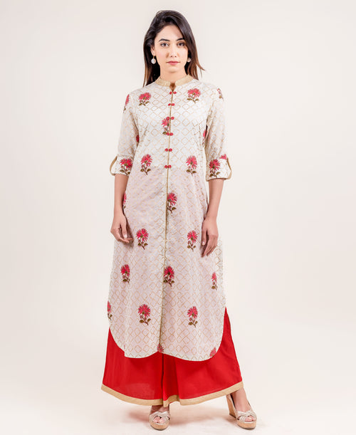 Desirably Serene Floral Suit Set With Curved Hem