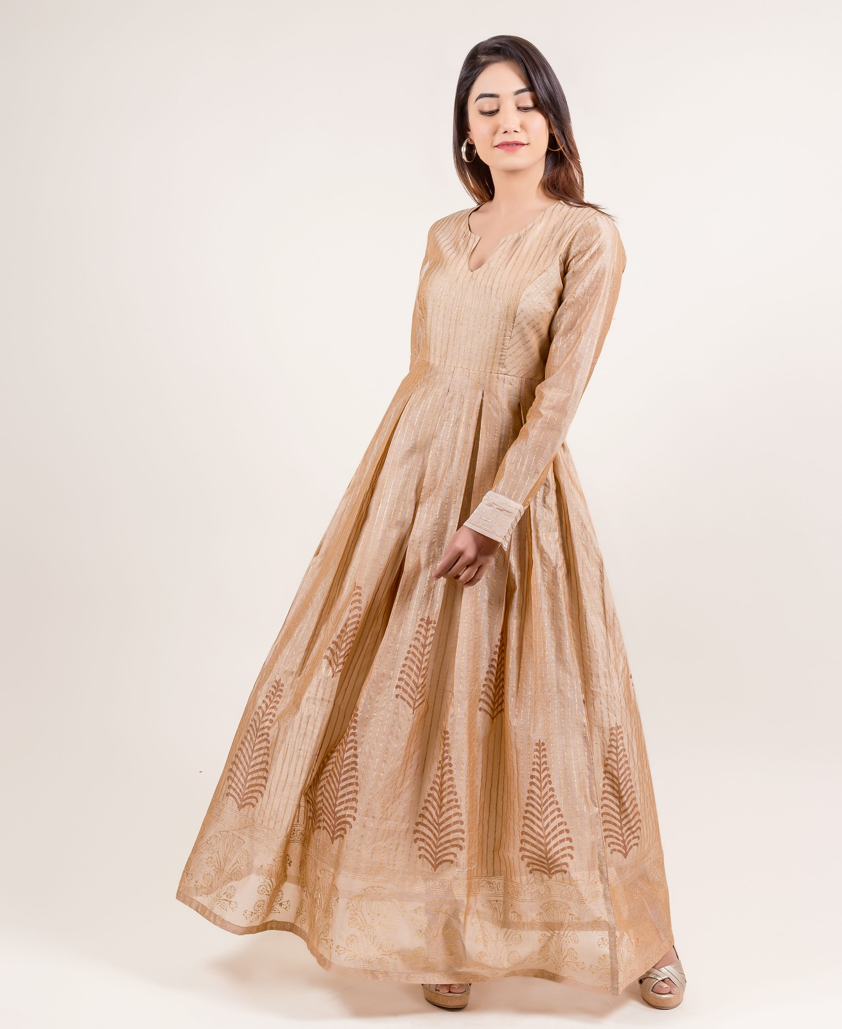 Breathtakingly Stunning Gold Printed Full Sleeves Long Designer Dress for women