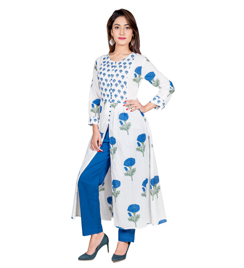 White and Blue Hand Block Printed Cape Kurta Online