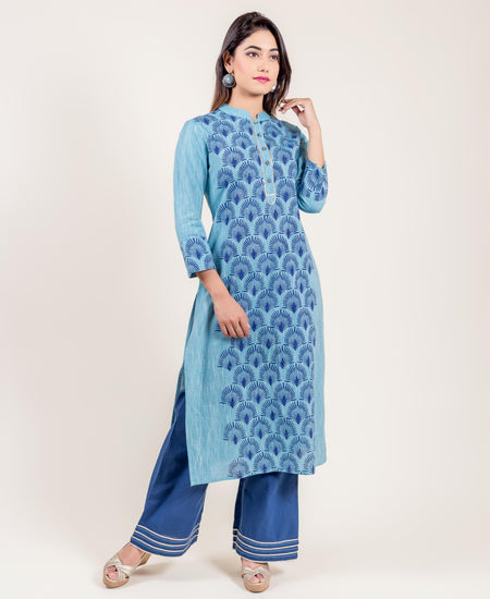 White Khadi Print Kurta With Flared Sharara